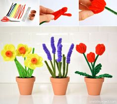 Not Just for Cleaning: 18 Sweet DIY Pipe Cleaner Crafts n Activity Ideas Pipe Cleaner Flowers, Pipe Cleaner Crafts, Pipe Cleaners, Paper Flowers Diy, Flower Crafts, Easter Crafts, Holiday Crafts, Crafts To Make, Diy Crafts