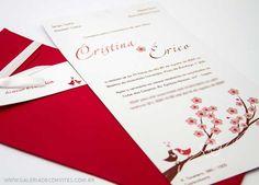 convite de casamento moderno com casal de passarinhos na cerejeira. Em tons de marrom e vermleho - Galeria de Convites