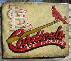 St. Louis Cardinals baseball Print,-with Mat, original, hand lettered, art, wall hanging, faux-vintage. $15.00, via Etsy.