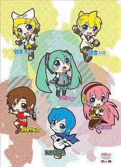 Chibi Group Vocaloid Wall Scroll :D I'm getting this for my brother's late xmas present. Kawaii Chibi, Cute Chibi, Anime Chibi, Anime Manga, Anime Art, Hatsune Miku, Otaku, Vocaloid Funny, Kaai Yuki