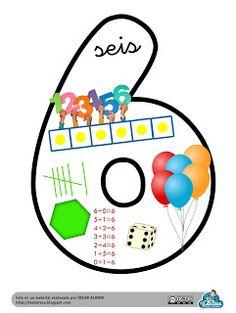 La Eduteca: RECURSOS INFANTIL | Cartel del Nº 6 para decorar el aula