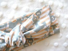 baby headwrap | 100% cotton nautical print peach stripes & grey anchors | top knot headband for newborns, babies and toddlers on Etsy, $160.00
