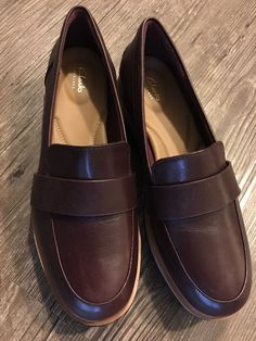 8bcc7110b8f CLARKS Women s Teadale Elsa Penny Loafer Burgundy Leather 6.5 wedge  platform  fashion  clothing