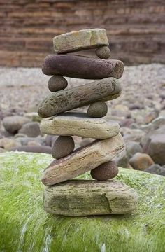 Rock cairn from Carla Smart.  Relaxing garden art to make with found rocks, stones, pebbles etc. Ann by madge