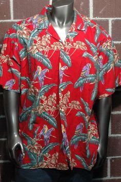 71457701 Paradise Found Tropical Parrot Hawaiian Aloha Shirt Palm Tree Mens 3XL RED  GREEN #ParadiseFound #Hawaiian