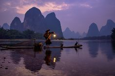 Cormorant Fishing on the Li River - Alovaddin. Guilin, China.