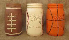 Sports Mason Jars Football Baseball by LoveRusticallyYours on Etsy, $15.00