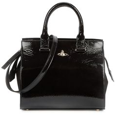 Vivienne Westwood Margate Black Patent Leather Tote ($675) ❤ liked on Polyvore featuring bags, handbags, tote bags, handbags totes, zippered tote bag, patent tote, zipper purse and tote purses