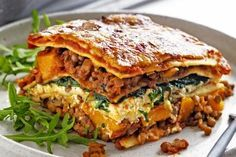 Pumpkin, spinach and lentil lasagne