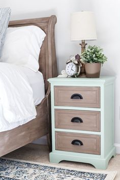 Two Tone Nightstands Makeover | http://blesserhouse.com - Plain nightstands get a colorful two tone makeover using Fusion Mineral Paint Brook and Algonquin.