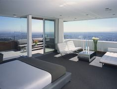 Modern Bedroom Top Floor Apartment Contemporary Furniture Tufted Upholstery Modern Coffee Table Balcony Entrance Floor To Ceiling Windows