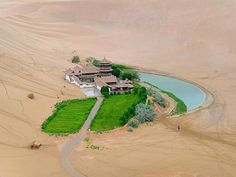 Crescent Lake - Dunhuang, China - It's a real-life oasis. Dunhuang, Places To Travel, Places To See, Wonderful Places, Beautiful Places, Amazing Things, Amazing Places, Crescent Lake, Desert Oasis