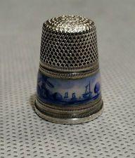 ТОНКИЙ старинный эмали DELFT серебро НАПЕРСТОК размер 7