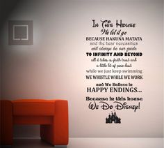 In This House We Do Disney Wall Decal With Mickey Mouse Castle - Custom vinyl wall art decals   how to remove