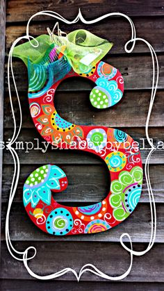 Hand painted Wooden Letter/Initial by SimplyShabbyByBella on Etsy, $40.00