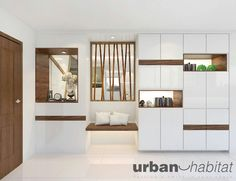 HDB Modern Contemporary At Pasir Ris - Interior Design Singapore Shoe Cabinet Design, Kitchen Cabinet Design, Kitchen Cabinets, Home Interior, Modern Interior, Design Entrée, Design Ideas, Inside Cabinets, Interior Design Singapore