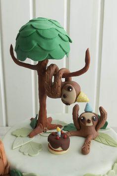 Baby Sloth, Cute Sloth, Zootopia Cake, Sloth Cakes, Foundant, Jungle Cake, Fantasy Cake, Animal Cakes, Sugar Art