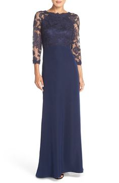 Tadashi Shoji Embroidered Lace Gown (Regular & Petite) available at #Nordstrom