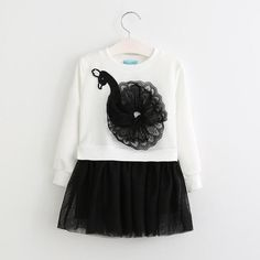 Fall Peacock Shirt with Black tulle skirt