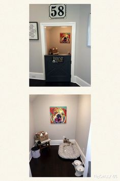 Under the stairs dog room with Dutch door. Cheval Homearama 2015 Under the stairs dog room with Dutch door. Closet Under Stairs, Dog Closet, Dog Bedroom, Ideas Dormitorios, Puppy Room, Dog Spaces, Dog Hotel, Dog Area, Animal Room