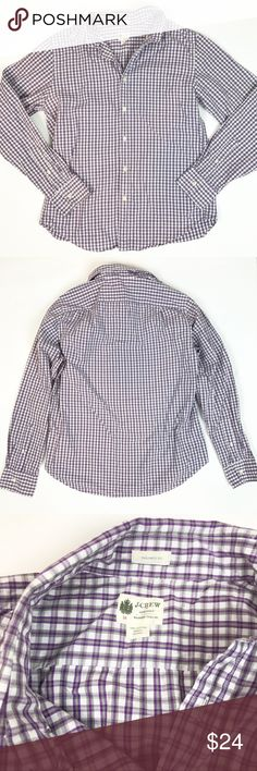 MEN ^^^ J. Crew factory purple check button down M MEN ^^^ J. Crew factory purple, gray and white check button down, washed casual, tailored fit. Size M. Ptp 21, length 27. Perfect J. Crew button down for work or casual wear. J. Crew Factory Shirts Dress Shirts