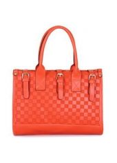 Faux Leather Checked Double Handle Shiny Orange Satchel Bag