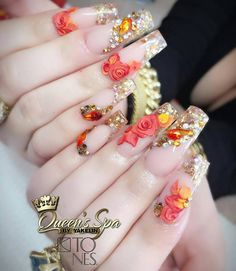 cute nail art designs can reflect the bright, cheerful summer. These 15 ideas will inspire you. Dope Nails, Glam Nails, Bling Nails, 3d Nails, 3d Nail Art, Bling Wedding Nails, Cute Nail Art Designs, Beautiful Nail Designs, Acrylic Nail Designs