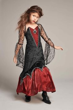 """""""Shop Chasing Fireflies for our Midnight Vampiress Costume for Girls. Browse our online catalog for the best in unique children's costumes, clothing and more. Cute Girl Costumes, Dress Up Costumes, Halloween Costumes For Girls, Halloween Dress, Dress Outfits, Girl Outfits, Girls Vampire Costume, Vampire Costumes, Fantasias Halloween"""
