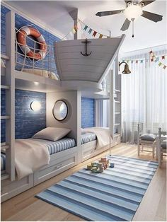 .Nautical kid's room inspiration! Could put the kids' beds along wall like this to get more space in rest of room, separate with a little shelf or wall....