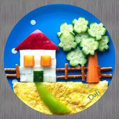 House with food for children Haus mit Essen für Kinder Cute Snacks, Cute Food, Good Food, Kids Food Crafts, Food Art For Kids, Creative Food Art, Food Carving, Kids Menu, Food Decoration