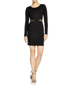 Aqua Lace-Inset Body-Con Dress