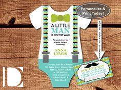 Little Man Baby Shower Invitation, Onesie Invitation, Bow Tie, Baby Blue, Teal, Green, Black, Instant Download, DIY, BONUS Diaper Raffle Tickets by DeReimer DeSign for $8.95