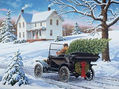 3 Christmas paintings More Christmas Truck, Christmas Scenes, Cozy Christmas, Country Christmas, Christmas Pictures, Family Christmas, Illustration Noel, Christmas Illustration, Vintage Clipart