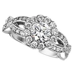 1.19cttw Round Halo Diamond Engagement Ring with Twisted Shank