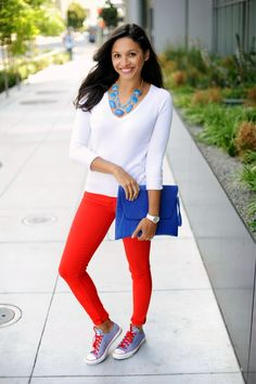 blue and red fashion