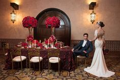 Loving this deep red glamorous look to make this 1920's themed wedding! more at our blog!