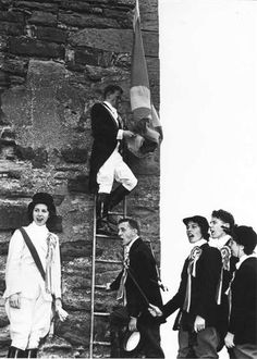 Flag ceremony at Faside Castle whilst in ruins. Holiday Accommodation, Edinburgh, Castle, Flag, Fictional Characters, Beautiful, Fantasy Characters, Flags, Castles