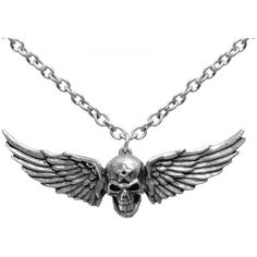 Visit our gothic clothing shop for this winged skull necklace by Alchemy Gothic, the