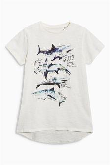 T-shirt blanc motif requin (3-16 ans)