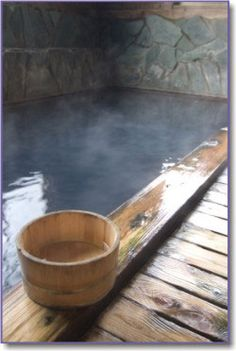 Japanese onsen bath. I love the idea of having an indoor saltwater pool to serve as an onsen.