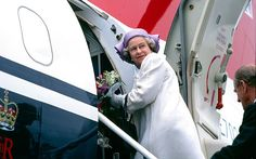 HM Queen Elizabeth II boarding the royal flight at Belfast airport after her controversial visit to Northern Ireland in 1991