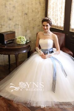 Wholesale A-Line Wedding Dresses - Buy 2014 Latest Japan Stunning Backless Sheer A-Line Wedding Dresses Bridal Gowns Strapless Sweep Train Lace Organza Crystal Evening 2013 Bow, $129.0 | DHgate