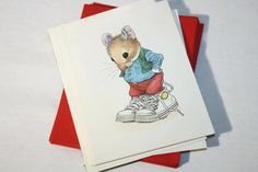 Pawprints Wallace Tripp Mouse Stationary, Set of 12 Blank Cards and Envelopes,