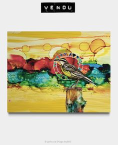 Estampe numérique signé Gohu Année : 2018 Format : 28 x 22 pouces (Oiseau - Sturnelle de l'Ouest) Painting, Printmaking, Drawing Drawing, Paintings, Draw, Drawings