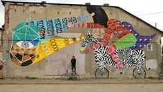 Graffiti : Another mural by artist Allan Dalla in Bucharest, Romania. Street Art News, Best Street Art, Street Art Graffiti, Street Artists, Graffiti Artists, Installation Art, Art Installations, Wall Murals, Wall Art