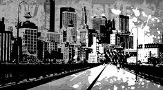 Pop City 23 by Melissa Smith – Urban Art District. | Paint splatters and textures combine with urban scenes to create modern and interesting pieces of art.  Hang as a stand-alone print or order a couple and display as a stylish grouping.  Either way, your guests will fall in love with your artistic insight.  SHARE if you ♥ it!