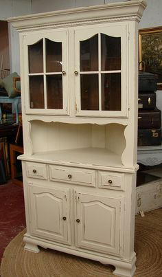 Reclaimed Vintage White Shabby Chic Cottage Painted Corner Hutch China Cabinet…