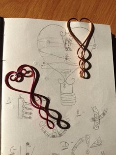 Wire Triple Heart Bookmarks