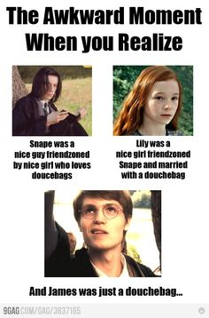 Douchebag James. Don't kill me, but I think that Lily and Snape should have married...