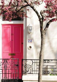 Pink door + pink blossoms. If I were ever to live in a city, this would be the way.